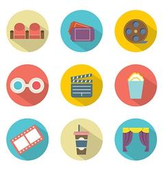 Flat Design Cinema Icons vector image