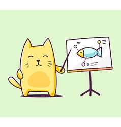 color character cat with pointer on green vector image vector image