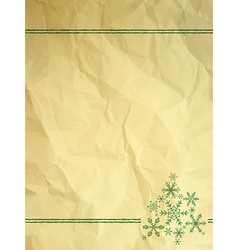 Crumpled paper with snowflakes vector image vector image