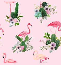 flamingo bird and tropical cactus seamless pattern vector image vector image