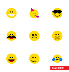 Flat icon expression set of laugh hush winking vector