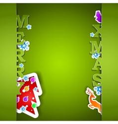Merry Xmas green card eps10 vector image vector image