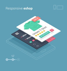 Mobile shopping with responsive eshop website appl vector image vector image