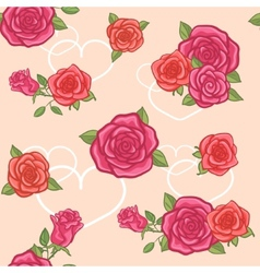 Seamless background with roses and hearts vector image vector image