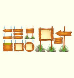 set of cartoon wooden signs vector image