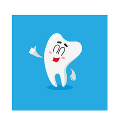 cute and happy shiny white tooth character showing vector image vector image
