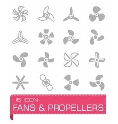 Fans and propellers icon set vector image