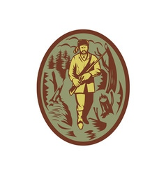 pioneer hunter trapper with rifle vector image vector image
