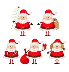 set of cute smiling Santa Claus vector image