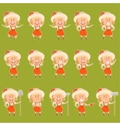 Set of gardener women flat icons3 vector image