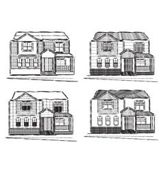 Sketch collection of village buildings vector image vector image