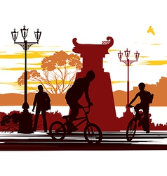two cyclists vector image vector image