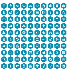 100 nursery school icons sapphirine violet vector