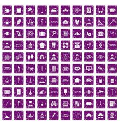 100 profession icons set grunge purple vector