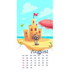 2021 calendar august funny cartoon cat vector