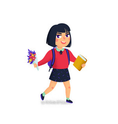 a girl with book and backpack on white background vector image