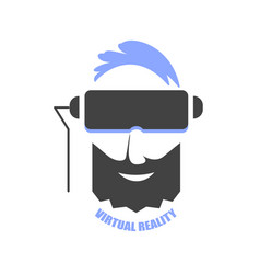 a man with blue hair wearing vr glasses vector image