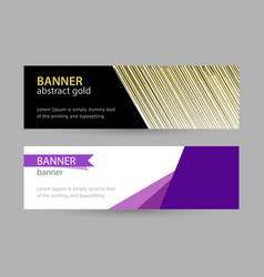 abstract gold and violet banner with lines on vector image