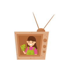 adorable smiling girl sitting in tv made of vector image
