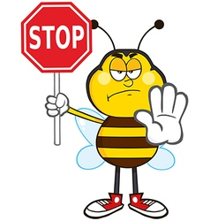 Angry Traffic Wardon Bumble Bee Cartoon vector