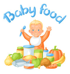 Background with cute little baby and food items vector