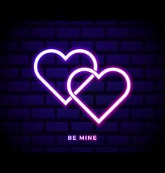 be mine valentine neon sign on dark brick wall vector image