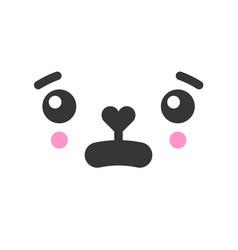 Bewildered kawaii cute emotion face emoticon vector