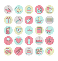 big circle web icon set baby toy feed and care vector image