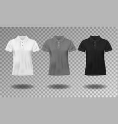 black white and gray realistic slim male polo t vector image