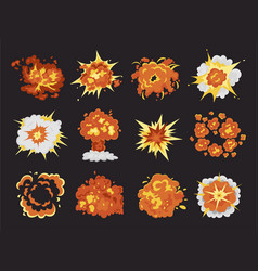 bomb explosion and fire bang cartoon set vector image