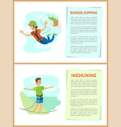bungee jumping and highlining man and woman set vector image