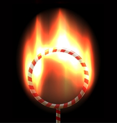 Burning circus hoop vector image
