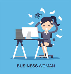 Busy of time businesswoman vector