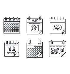 calendar week icons set outline style vector image