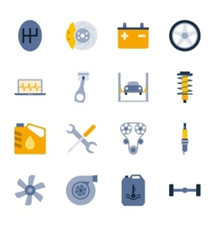 Car service flat icons set vector image