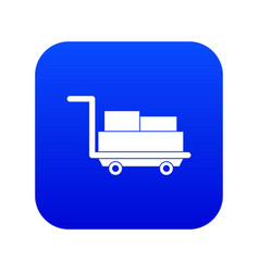 cart with luggage icon digital blue vector image