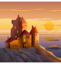 Castle on the coast at sunset vector