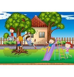 Children playing slide in the playground vector