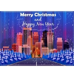 Christmas card with night street background vector image