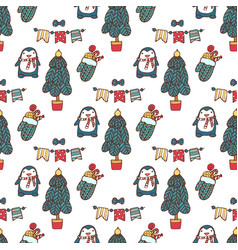 christmas tree seamless pattern xmas gift vector image