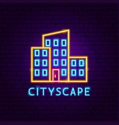 cityscape neon label vector image