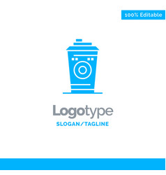 Coffee mug starbucks black coffee blue solid logo vector