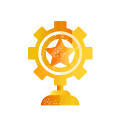 Cog wheel golden award on a vector