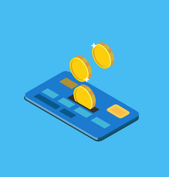 coins discounted on credit card vector image