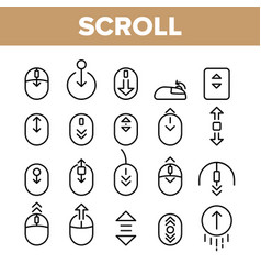 Collection scroll thin line sign icons set vector
