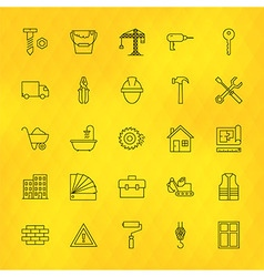 Construction Tools Line Icons Set over Polygonal vector