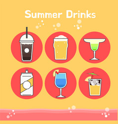 Cool and delicious summer drinks vector