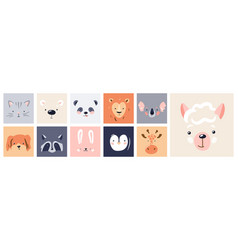 cute animal baface posters set vector image