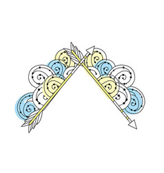 cute arrows element with ornamental design vector image