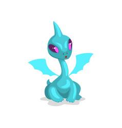 Cute cartoon light blue baby dragon with wings vector